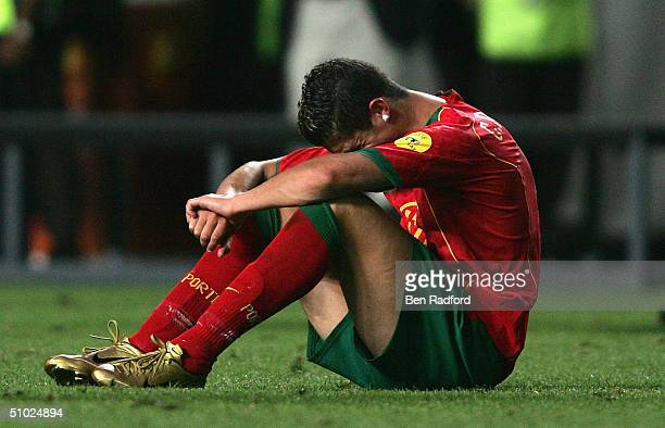 Cristiano Ronaldo of Portugal in tears after the UEFA Euro 2004, Final match between Portugal and Greece at the Luz Stadium on July 4, 2004 in...