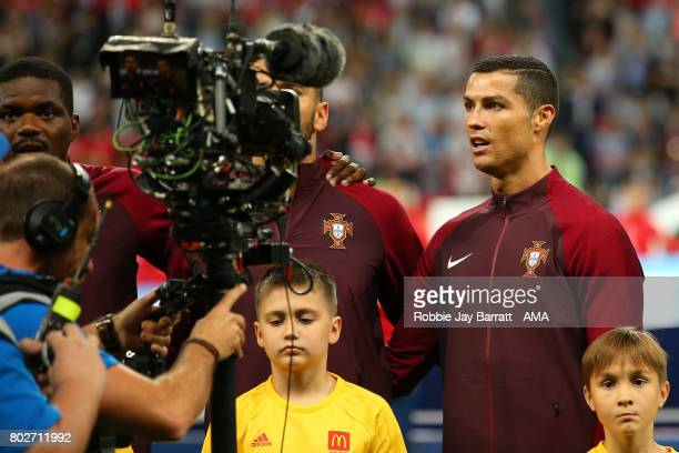 Cristiano Ronaldo of Portugal is filmed by a TV camera prior to the FIFA Confederations Cup Russia 2017 SemiFinal match between Portugal and Chile at...