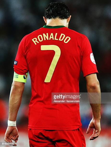 Cristiano Ronaldo of Portugal is pictured during the UEFA EURO 2008 Quarter Final match between Portugal and Germany at St. Jakob-Park on June 19,...