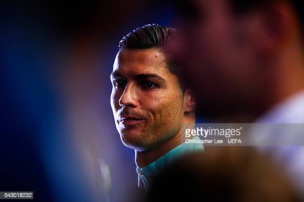 Cristiano Ronaldo of Portugal is seen in the tunnel prior to the UEFA EURO 2016 round of 16 match between Croatia and Portugal at Stade...