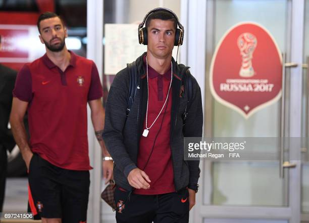 Cristiano Ronaldo of Portugal is seen on arrival at the stadium prior to the FIFA Confederations Cup Russia 2017 Group A match between Portugal and...