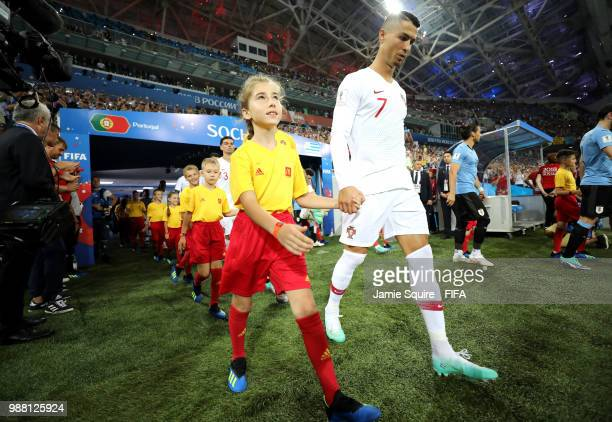 Cristiano Ronaldo of Portugal leads his team on the pitch prior to the 2018 FIFA World Cup Russia Round of 16 match between Uruguay and Portugal at...