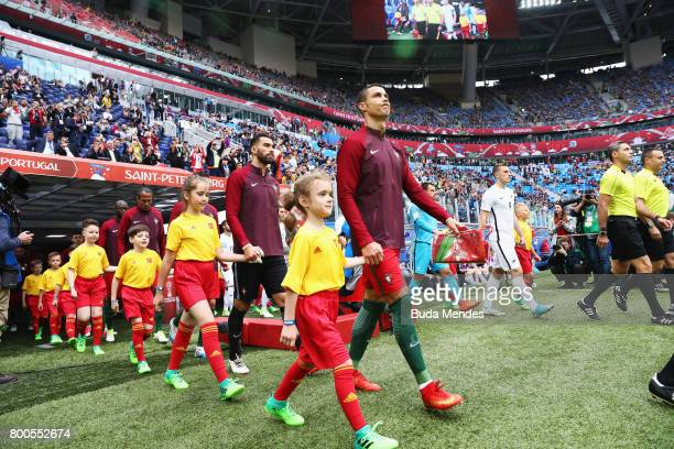 Cristiano Ronaldo of Portugal leads his team out prior to the FIFA Confederations Cup Russia 2017 Group A match between New Zealand and Portugal at...