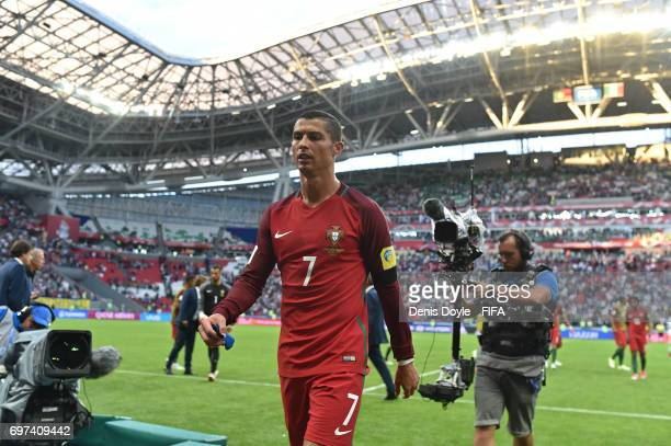 Cristiano Ronaldo of Portugal leaves the field after his team drew 22 in the FIFA Confederations Cup Russia 2017 Group A match between Portugal and...