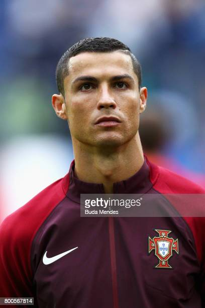 Cristiano Ronaldo of Portugal lines up prior to the FIFA Confederations Cup Russia 2017 Group A match between New Zealand and Portugal at Saint...