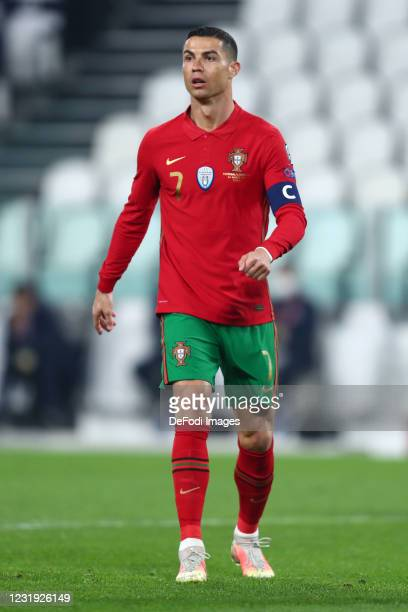 Cristiano Ronaldo of Portugal look on during the FIFA World Cup 2022 Qatar qualifying match between Portugal and Azerbaijan on March 24, 2021 in...