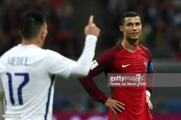 Cristiano Ronaldo of Portugal looks at Gary Medel of Chile during the FIFA Confederations Cup Russia 2017 SemiFinal match between Portugal and Chile...