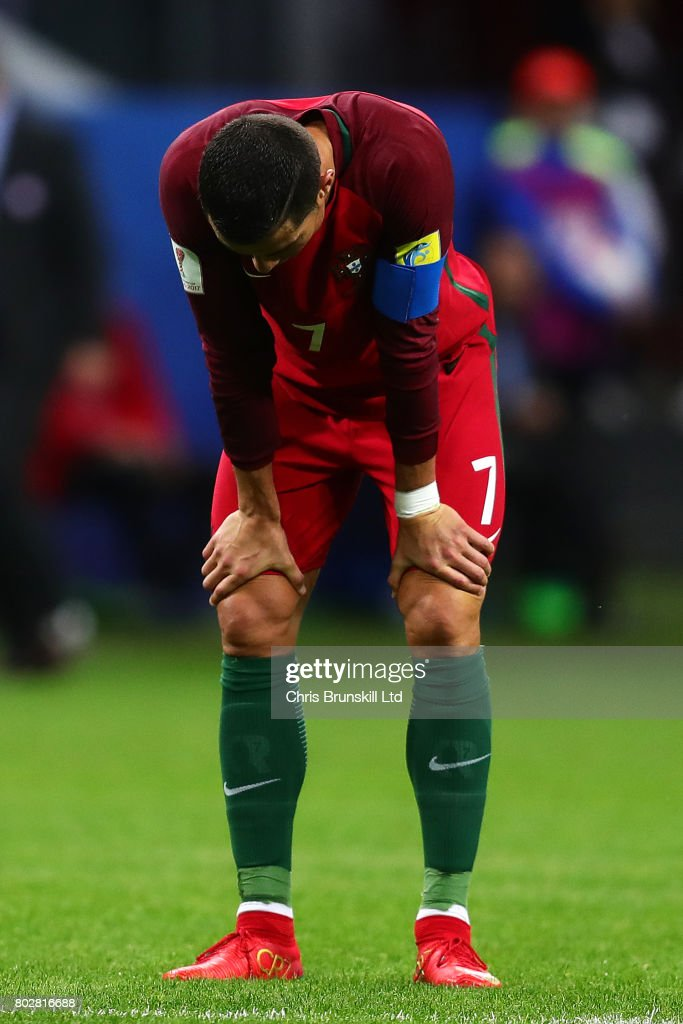 Cristiano Ronaldo of Portugal looks dejected during the FIFA Confederations Cup Russia 2017 Semi-Final match between Portugal and Chile at Kazan Arena on June 28, 2017 in Kazan, Russia.
