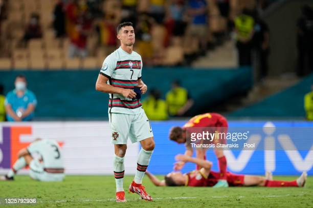 Cristiano Ronaldo of Portugal looks dejected following defeat in the UEFA Euro 2020 Championship Round of 16 match between Belgium and Portugal at...