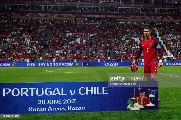 Cristiano Ronaldo of Portugal looks on ahead of the FIFA Confederations Cup Russia 2017 SemiFinal match between Portugal and Chile at Kazan Arena on...