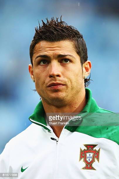 Cristiano Ronaldo of Portugal looks on ahead of the UEFA EURO 2008 Group A match between Switzerland and Portugal at St JakobPark on June 15 2008 in...