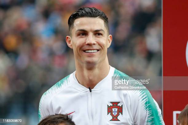 Cristiano Ronaldo of Portugal looks on before the UEFA Euro 2020 Qualifier between Luxembourg and Portugal on November 17, 2019 in Luxembourg,...