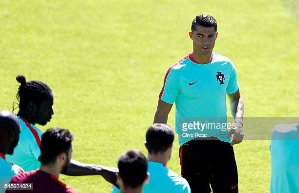Cristiano Ronaldo of Portugal looks on during a training session ahead of the UEFA Euro 2016 Final against France at the Centre National de Rugby in...