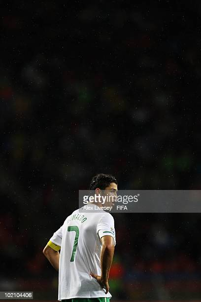 Cristiano Ronaldo of Portugal looks on during the 2010 FIFA World Cup South Africa Group G match between Ivory Coast and Portugal at Nelson Mandela...