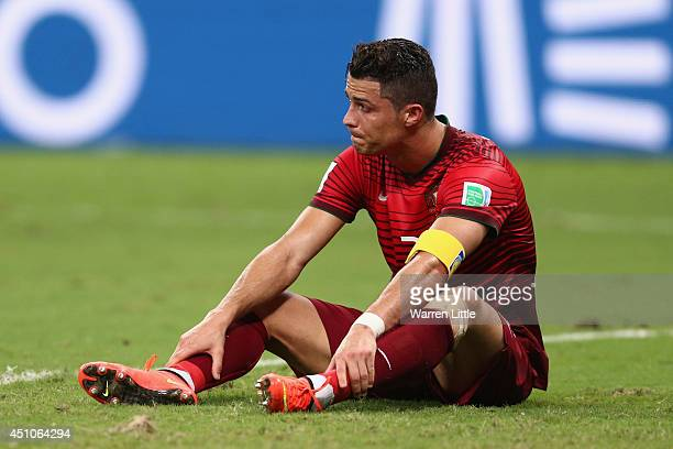 Cristiano Ronaldo of Portugal looks on during the 2014 FIFA World Cup Brazil Group G match between the United States and Portugal at Arena Amazonia...