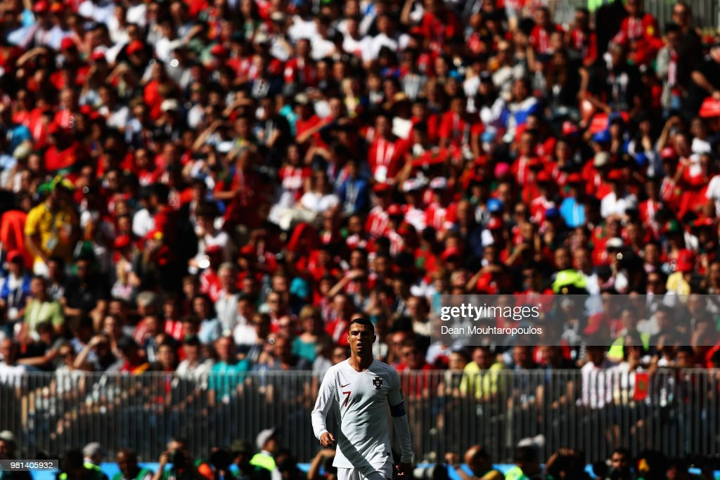 Cristiano Ronaldo of Portugal looks on during the 2018 FIFA World Cup Russia group B match between Portugal and Morocco at Luzhniki Stadium on June 20, 2018 in Moscow, Russia.