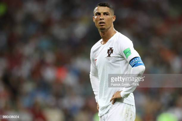 Cristiano Ronaldo of Portugal looks on during the 2018 FIFA World Cup Russia Round of 16 match between Uruguay and Portugal at Fisht Stadium on June...