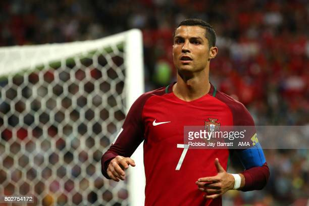 Cristiano Ronaldo of Portugal looks on during the FIFA Confederations Cup Russia 2017 SemiFinal match between Portugal and Chile at Kazan Arena on...