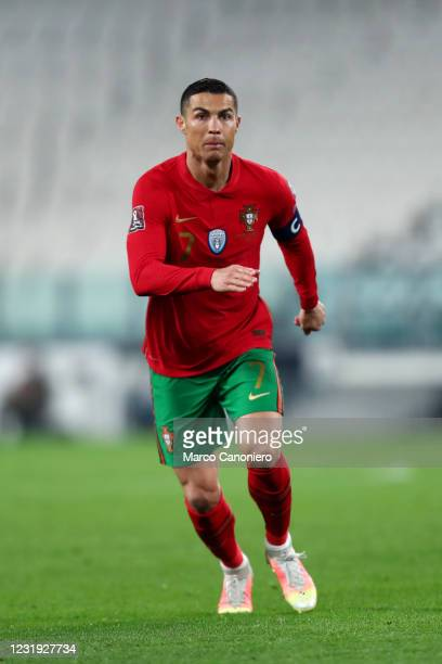 Cristiano Ronaldo of Portugal looks on during the FIFA World Cup 2022 Qualifiers match between Portugal and Azerbaijan. Portugal wins 1-0 over...