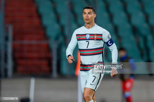 Cristiano Ronaldo of Portugal looks on during the FIFA World Cup 2022 Qatar qualifying match between Luxembourg and Portugal on March 30, 2021 in...