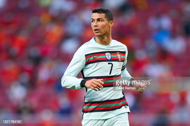 Cristiano Ronaldo of Portugal looks on during the international friendly match between Spain and Portugal at Wanda Metropolitano stadium on June 04,...