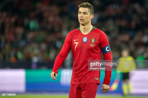 Cristiano Ronaldo of Portugal looks on during the International Friendly between Portugal and Egypt at the Letzigrund Stadium on March 23 2018 in...