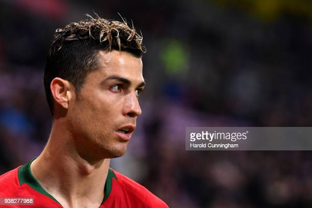 Cristiano Ronaldo of Portugal looks on during the International Friendly match between Portugal v Netherlands at Stade de Geneve on March 26 2018 in...