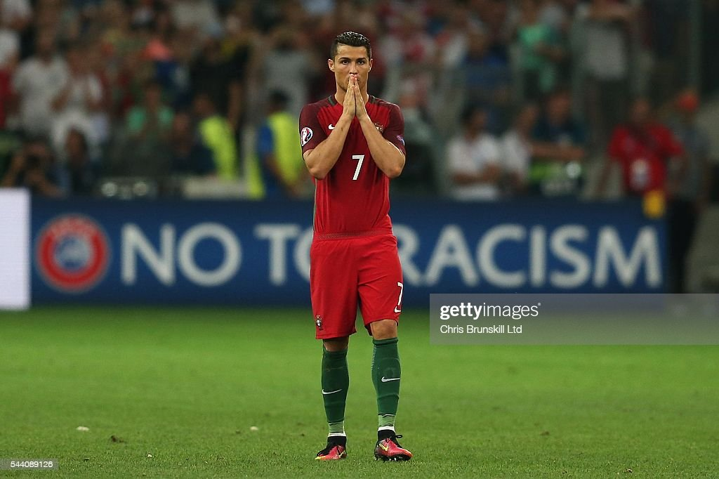 Cristiano Ronaldo of Portugal looks on during the penalty shoot out following the UEFA Euro 2016 Quarter Final match between Poland and Portugal at Stade Velodrome on June 30, 2016 in Marseille, France.