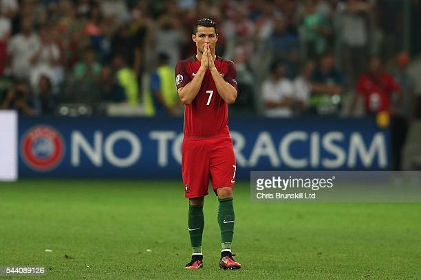 Cristiano Ronaldo of Portugal looks on during the penalty shoot out following the UEFA Euro 2016 Quarter Final match between Poland and Portugal at...