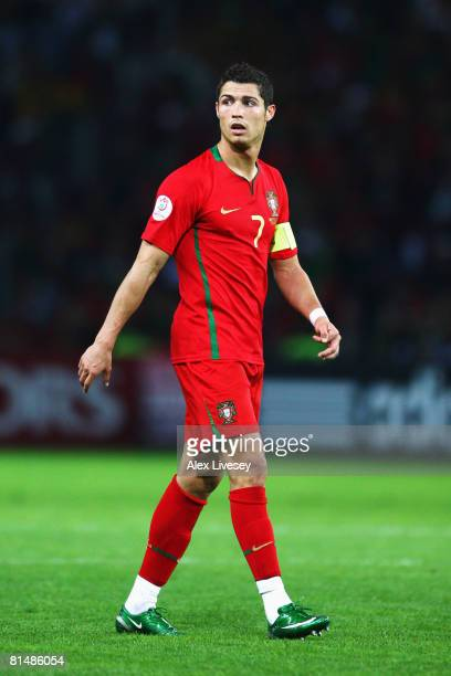 Cristiano Ronaldo of Portugal looks on during the UEFA EURO 2008 Group A match between Portugal and Turkey at Stade de Geneve on June 7, 2008 in...