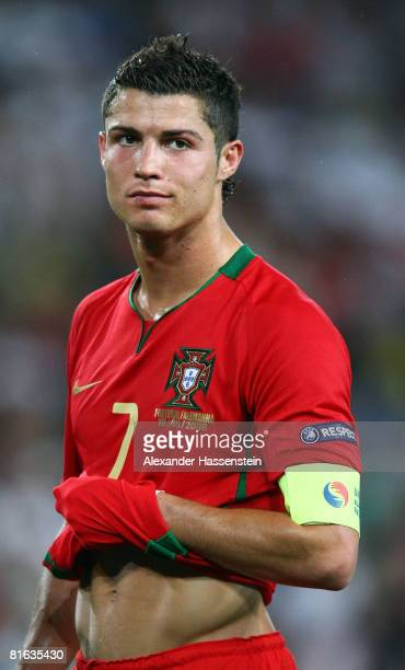 Cristiano Ronaldo of Portugal looks on during the UEFA EURO 2008 Quarter Final match between Portugal and Germany at St JakobPark on June 19 2008 in...
