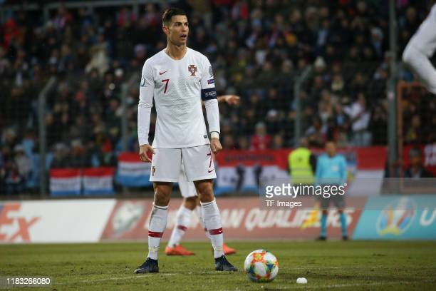 Cristiano Ronaldo of Portugal looks on during the UEFA Euro 2020 Qualifier between Luxembourg and Portugal on November 17 2019 in Luxembourg...
