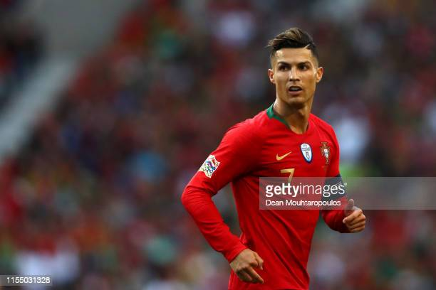 Cristiano Ronaldo of Portugal looks on during the UEFA Nations League Final between Portugal and the Netherlands at Estadio do Dragao on June 09,...