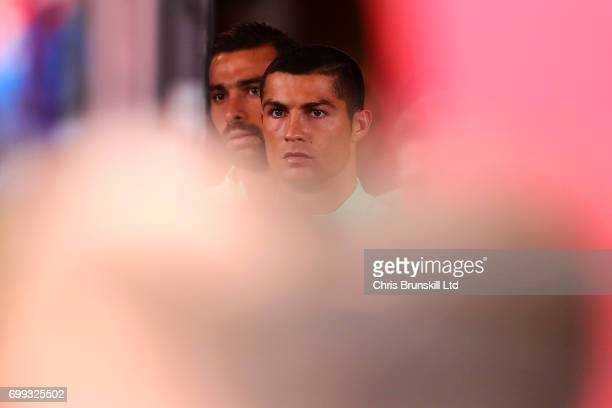 Cristiano Ronaldo of Portugal looks on in the tunnel ahead of the FIFA Confederations Cup Russia 2017 Group A match between Russia and Portugal at...