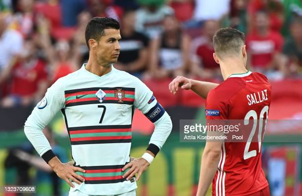 Cristiano Ronaldo of Portugal looks on prior to the UEFA Euro 2020 Championship Group F match between Hungary and Portugal at Puskas Arena on June...