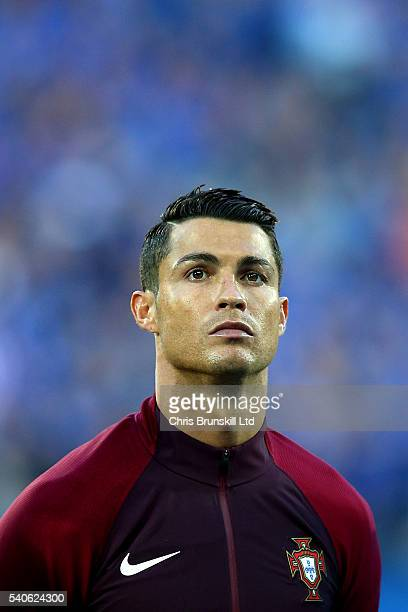 Cristiano Ronaldo of Portugal looks on the UEFA Euro 2016 Group F match between Portugal and Iceland at Stade GeoffroyGuichard on June 14 2016 in...