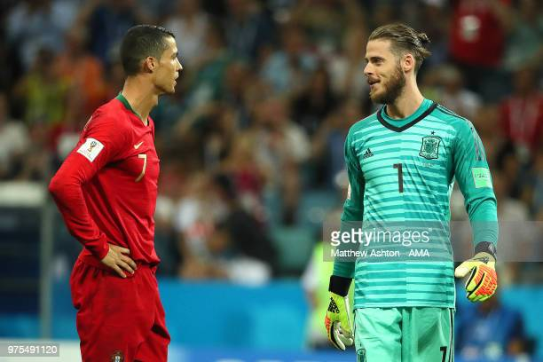 Cristiano Ronaldo of Portugal looks towards David De Gea of Spain prior to taking a penalty during the 2018 FIFA World Cup Russia group B match...