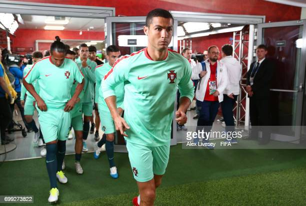 Cristiano Ronaldo of Portugal makes his way out to warm up prior to the FIFA Confederations Cup Russia 2017 Group A match between Russia and Portugal...