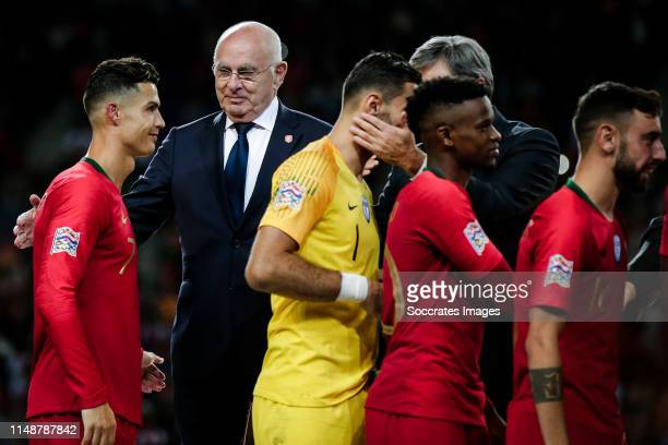 Cristiano Ronaldo of Portugal, Michael van Praag during the match between Portugal v Holland at the Estadio do Dragao on June 9, 2019 in Porto...