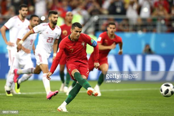 Cristiano Ronaldo of Portugal misses a penalty during the 2018 FIFA World Cup Russia group B match between Iran and Portugal at Mordovia Arena on...