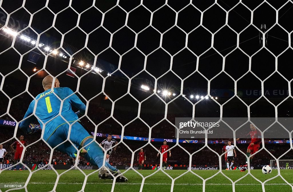 Cristiano Ronaldo of Portugal misses a penalty during the UEFA Euro 2016 Group F match between the Portugal and Austria at Parc des Princes on June 18, 2016 in Paris, France.