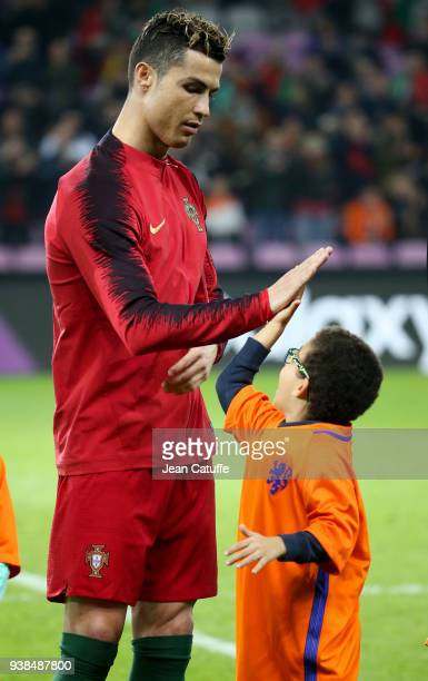 Cristiano Ronaldo of Portugal poses before the international friendly match between Portugal and the Netherlands at Stade de Geneve on March 26, 2018...