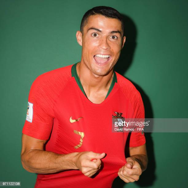 Cristiano Ronaldo of Portugal poses during the official FIFA World Cup 2018 portrait session at Saturn Training Base on June 10, 2018 in Moscow,...