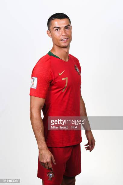 Cristiano Ronaldo of Portugal poses for a portrait during the official FIFA World Cup 2018 portrait session at the Saturn training base on June 10...
