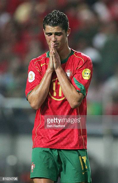 Cristiano Ronaldo of Portugal praying for a goal during the UEFA Euro 2004, Final match between Portugal and Greece at the Luz Stadium on July 4,...