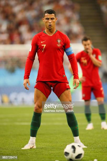 Cristiano Ronaldo of Portugal prepares to take a freekick during the 2018 FIFA World Cup Russia group B match between Iran and Portugal at Mordovia...