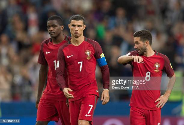 Cristiano Ronaldo of Portugal reacts after his team lost their penalty shootout during the FIFA Confederations Cup semifinal match between Portugal...