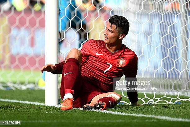 Cristiano Ronaldo of Portugal reacts after missing a chance during the 2014 FIFA World Cup Brazil Group G match between Portugal and Ghana at Estadio...
