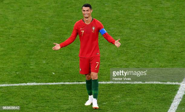 Cristiano Ronaldo of Portugal reacts after receiving a yellowcard during the 2018 FIFA World Cup Russia group B match between Iran and Portugal at...