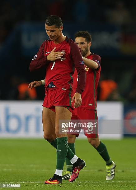 Cristiano Ronaldo of Portugal reacts at fulltime following the UEFA Euro 2016 Group F match between the Portugal and Austria at Parc des Princes on...